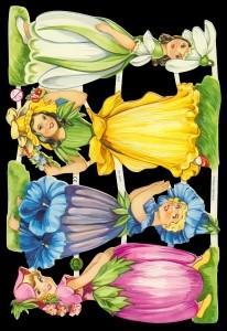 Glanzbilder Blumenmädchen II,  Glanzbilder,  Glanzbilder,  Blumen,  Elfen
