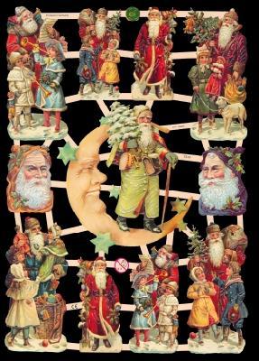Glanzbilder Weihnachten,  Glanzbilder,  Glanzbilder,  Weihnachtsmann,  Mond