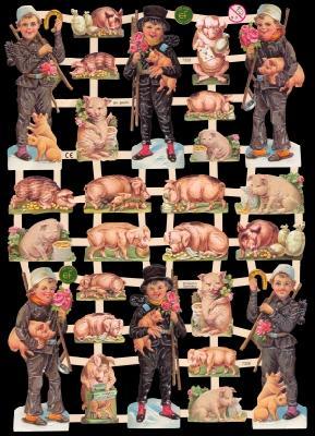 Glanzbilder Schweine/Schornsteinfeger,  Glanzbilder,  Glanzbilder,  Glück,  Schornsteinfeger,  Schweine