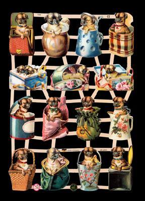 1 Bogen Glanzbilder ,  Glanzbilder,  Glanzbilder,  Hunde,  Krüge