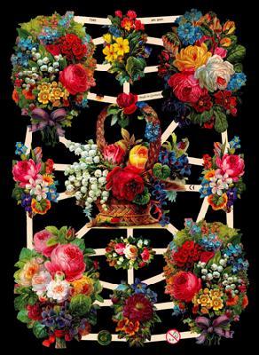 Glanzbilder bunter Blumenbogen,  Glanzbilder,  Glanzbilder,  Rosen