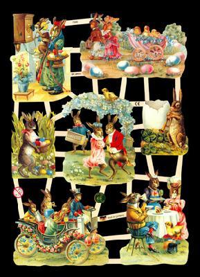 Glanzbilder mit Glimmer,  Glanzbilder,  Glanzbilder,  Osterhasen,  Ostereier,  Kutsche