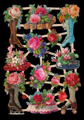 Glanzbilder Blumenstiefel,  Glanzbilder,  Glanzbilder,  Stiefel,  Rosen
