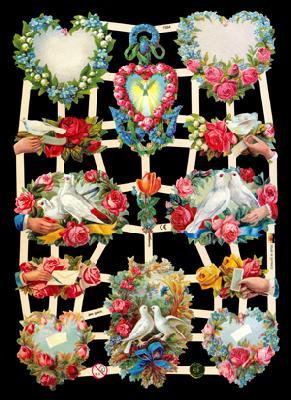 Glanzbilder Hochzeitsbogen,  Glanzbilder,  Glanzbilder,  Tauben,  Herz