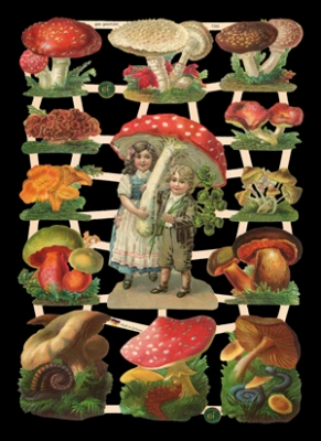 Glanzbilder Kinder mit Pilzen