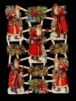 1 Bogen Glanzbilder mit Glimmer ,  Glanzbilder mit Glimmer,  Glanzbilder mit Glimmer,  Weihnachtsmann