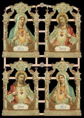1 Bogen Glanzbilder mit Glimmer ,  Glanzbilder mit Glimmer,  Glanzbilder mit Glimmer,  Jesus,  Maria