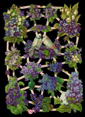 Glanzbilder mit Glimmer 2 Tauben mit Blumen,  Tiere,  Glanzbilder mit Glimmer,  Glanzbilder mit Glimmer,  Tauben,  Flieder