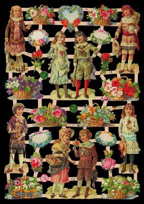 Glanzbilder Kinder/Blumen,  Glanzbilder,  Glanzbilder
