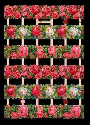 1 Bogen Glanzbilder mit Glimmer ,  Glanzbilder mit Glimmer,  Glanzbilder mit Glimmer,  Rosen