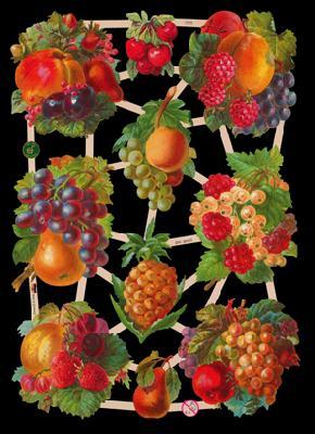 Glanzbilder Obstbogen,  Glanzbilder,  Glanzbilder,  Trauben,  Obst,  Birnen,  Beeren