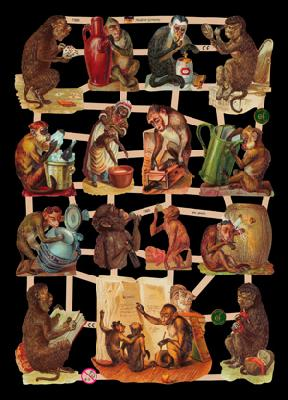 Glanzbilder mit Glimmer Affen,  Tiere,  Glanzbilder mit Glimmer,  Glanzbilder mit Glimmer,  Affen