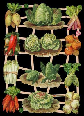 1 Bogen Glanzbilder ,  Glanzbilder,  Glanzbilder,  Gemüse,  Kohl,  Spargel,  Möhren,  Rüben