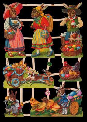 Glanzbilder mit Glimmer lustige Osterhasen - silber,  Glanzbilder mit Glimmer,  Tiere,  Osterhasen,  Ostereier,  Hühner