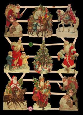 Glanzbilder mit Glimmer Weihnachtsmänner Glitter - silber, Kinder,  Tiere,  Glanzbilder mit Glimmer,  Weihnachtsmänner,  Pferde,  Kinder,  Weihnachtsmann