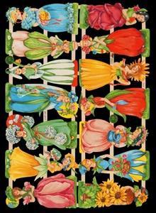 Glanzbilder mit Glimmer,  Glanzbilder,  Blumen,  Personen