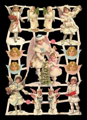 Glanzbilder mit Goldglimmer,  Glanzbilder mit Glimmer,  Engel,  Weihnachten,  Engel