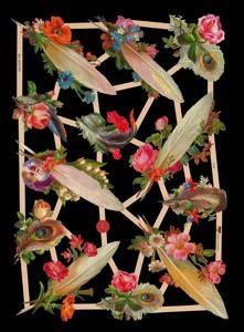Glanzbilder,  Glanzbilder,  Blumen,  Rosen,  Federn