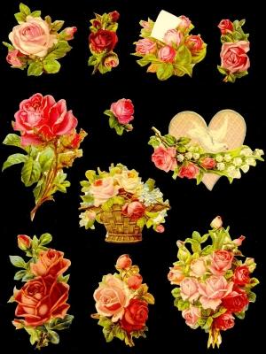 1 Beutel Ganzbilder - lose ,  Glanzbilder,  Glanzbilder,  Blumen,  Rosen