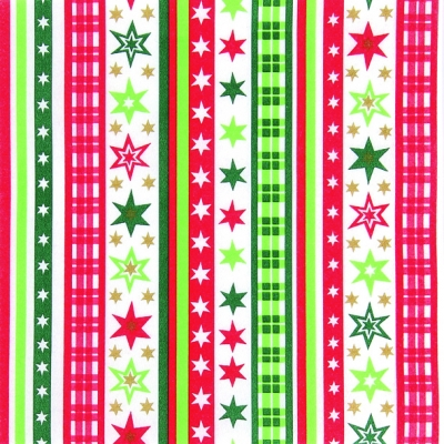 Dinner Servietten Stripes & Stars red/green, dinnerservietten,  Sterne,  Streifen