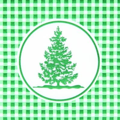 Dinner Servietten Vichy Tree green, dinnerservietten,  kariert,  Baum ,  grün