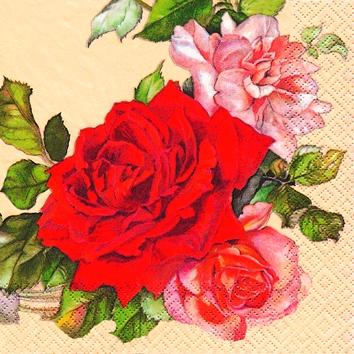 Cocktail Servietten Rosenkranz,  Blumen - Rosen,  Sonstiges -  Sonstiges,  Blumen -  Sonstige,  Everyday,  cocktail servietten,  Rote und Rose Rosenzweig