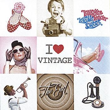 Cocktail Servietten I Love Vintage,  Sonstiges - Musik,  Sonstiges - Schriften,  Menschen - Personen,  Everyday,  cocktail servietten,  Menschen,  Schriften,  Musik