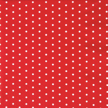 Cocktail Servietten Mini Dots red/white