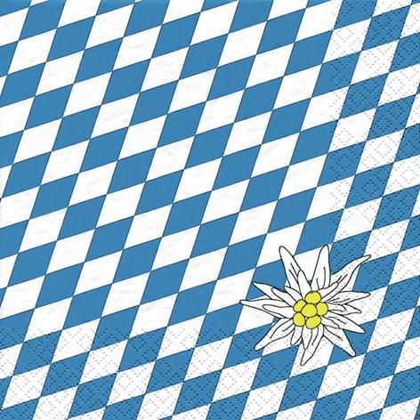 20 Servietten - 33 x 33 cm Edelweiss Bayern,  Sonstiges - Muster,  Regionen -  Sonstige,  Blumen -  Sonstige,  Everyday,  lunchservietten,  Edelweiß,  Bayern