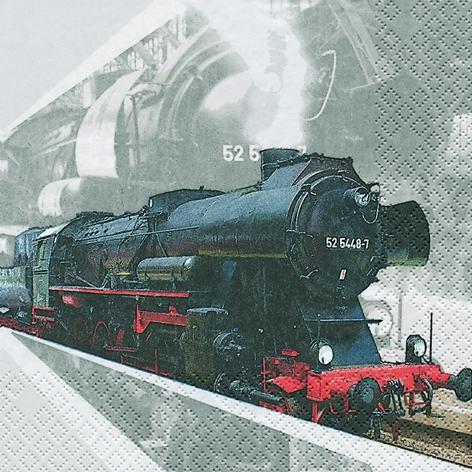 20 Servietten - 33 x 33 cm Lokomotive,  Fahrzeuge - Eisenbahn,  Sonstiges -  Sonstiges,  Everyday,  lunchservietten,  Lokomotive