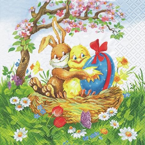 Lunch Servietten Easter Friends, Blumen - Tulpen,  Ostern - Hasen,  Ostern - Kücken,  Ostern,  lunchservietten