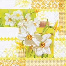 Lunch Servietten Narcissus Patchwork,  Sonstiges - Muster,  Blumen - Osterglocken,  Everyday,  lunchservietten