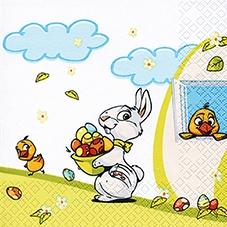 Servietten Ostern,  Ostern - Kücken,  Ostern - Ostereier,  Ostern - Hasen,  Ostern,  lunchservietten