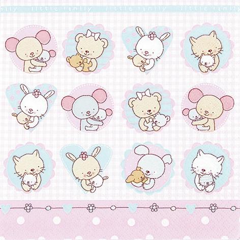 Servietten www,  Spielsachen - Stofftiere,  Ereignisse - Geburt,  Everyday,  lunchservietten,  Baby,  Geburt,  Teddybär,  Katzen,  Maus