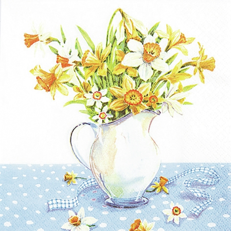 Lunch Servietten Painted Daffodils,  Blumen - Osterglocken,  Frühjahr,  lunchservietten,  Narzissen,  Krug,  Blumenstrauß