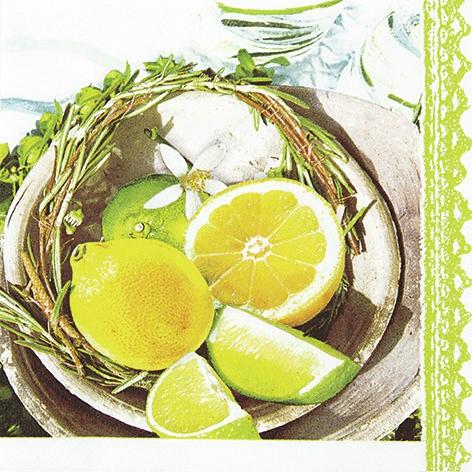 Lunch Servietten Citrus&Lime,  Früchte - Südfrüchte,  Everyday,  lunchservietten,  Zitronen,  Limetten