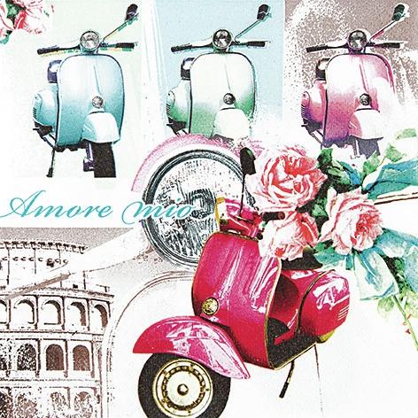 Lunch Servietten Vespa di Roma,  Fahrzeuge - Moped / Motorrad,  Regionen - Länder - Italien,  Everyday,  lunchservietten,  Vespa