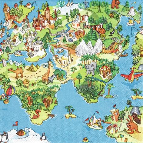 Servietten Afrika,  Regionen - Asien,  Regionen - Afrika,  Everyday,  lunchservietten,  Afrika,  Asien,  Asia
