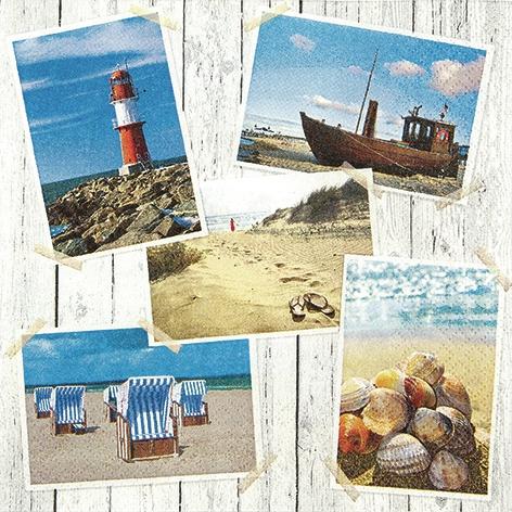 Lunch Servietten Beach Impressions,  Regionen - Strand / Meer - Muscheln,  Regionen - Strand / Meer - Leuchttürme,  Everyday,  lunchservietten,  Strand,  Muscheln,  Leuchtturm,  Strandkorb