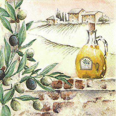 Lunch Servietten Tuscan Feelings,  Früchte - Oliven,  Everyday,  lunchservietten,  Oliven,  Olivenöl