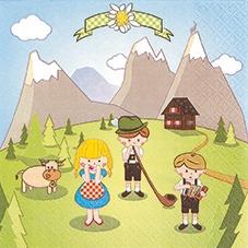 Lunch Servietten Alp Comic,  Sonstiges - Zeichenrick,  Regionen - Länder -Schweiz,  Regionen - Länder,  Everyday,  lunchservietten,  Alpen,  Kinder