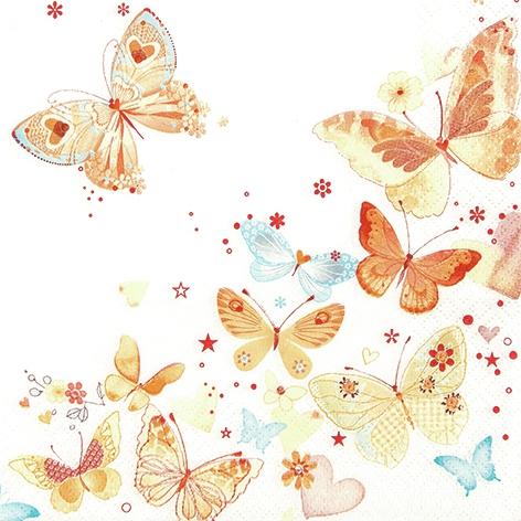 Lunch Servietten Lovely Butterflies yellow/orange,  Tiere - Schmetterlinge,  Everyday,  lunchservietten,  Schmetterlinge