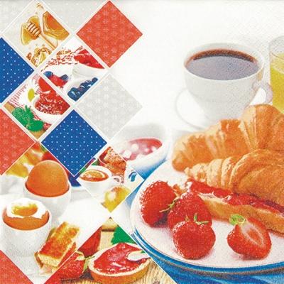 Lunch Servietten Good Morning,  Essen - Brot / Brötchen,  Getränke Kaffee / Tee,  Früchte - Erdbeeren,  Everyday,  lunchservietten,  Eier,  Marmelade,  Croissant,  Erdbeeren