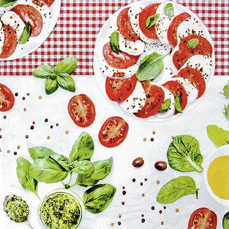 Everyday,  Pflanzen - Küchenkräuter,  Essen - Käse,  Gemüse - Tomaten,  Everyday,  lunchservietten,  Pfeffer,  Tomaten,  Käse,  Basilikum