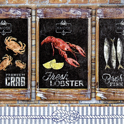 Lunch Servietten Seafood,  Tiere - Fische,  Essen - Fisch,  Everyday,  lunchservietten,  Fische,  Krebs,  Schriften