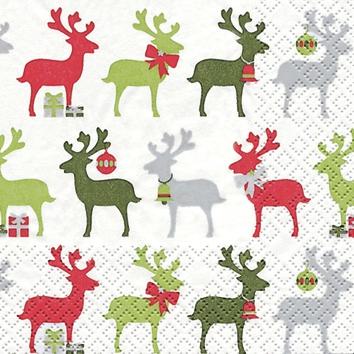20 Servietten - 25 x 25 cm Reindeer rot/grün,  Weihnachten,  cocktail servietten