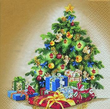Cocktail Servietten Classic Christmas Tree,  Weihnachten - Weihnachtsbaum,  Weihnachten - Geschenke,  Weihnachten,  cocktail servietten,  Weihnachtsbaum,  Geschenke