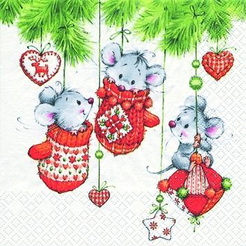 Cocktail Servietten 3 Cute Christmas Friends,  Weihnachten - Baumschmuck,  Weihnachten,  cocktail servietten,  Mäuse