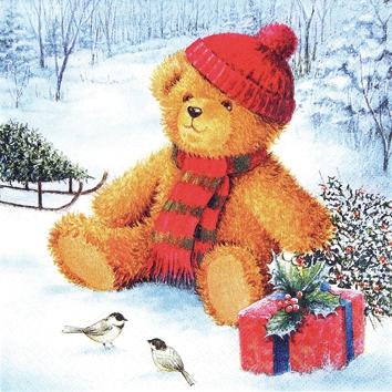 Home Fashion,  Spielsachen - Stofftiere,  Tiere - Vögel,  Weihnachten,  cocktail servietten,  Teddybär,  Schnee,  Geschenke,  Vögel