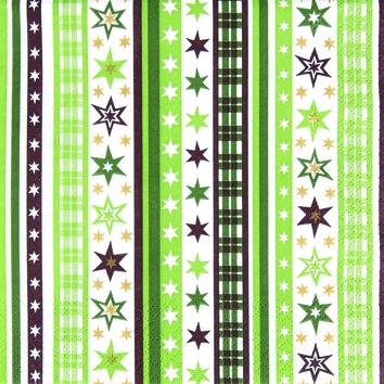 Cocktail Servietten Stripes & Stars green